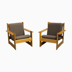 Wooden Armchairs, 1970s, Set of 2