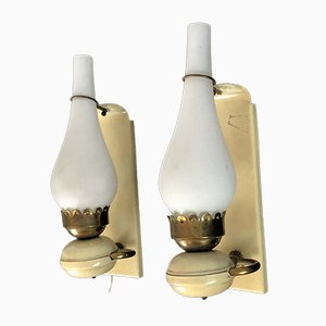 Vintage Italian Brass and Opaline Sconces, 1950s, Set of 2
