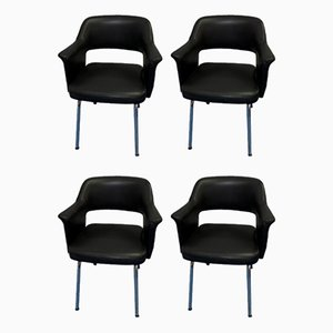Black Leatherette Armchairs, 1970s, Set of 4