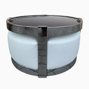 Tavolino da caffè o da tavolo rotondo in acciaio fumé e acciaio con quattro sgabelli, anni '70, set di 5