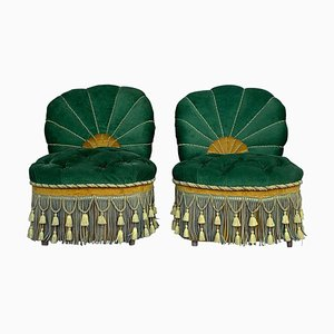French Green Velvet Parlour Chairs, 1940s, Set of 2