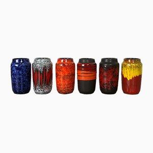 Vintage Fat Lava Vasen aus Keramik von Scheurich, Deutschland, 6er Set