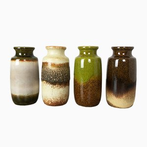 Vintage Pottery Fat Lava Vases from Scheurich, Germany, Set of 4