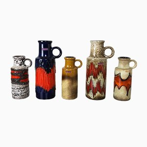 Vintage Pottery Fat Lava Vases from Scheurich, Germany, Set of 5