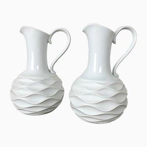 OP Art Biscuit Porcelain Jug Vases by Edelstein Bavaria, Germany, 1970s, Set of 2