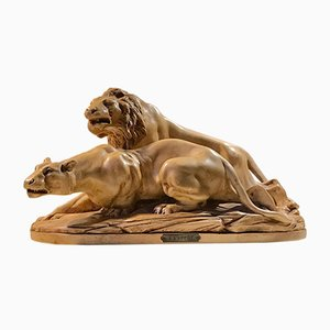 French L'Affut Art Deco Sculpture of Lions by A. Martinez, Paris 1924