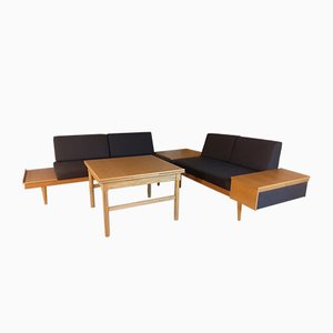 Mid-Century Oakwood and Grey Fabric Svanette and Letvin Daybeds with Oak Corner Table and Coffee Table by Ingmar Relling for Ekornes, Set of 4