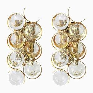 Vergoldete Wandlampen aus vergoldetem Messing & Kristallglas von Palwa, 1960er, 2er Set