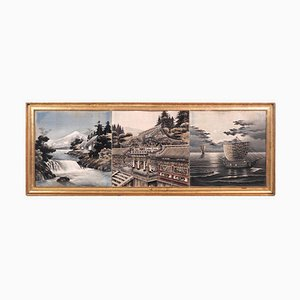 Oriental Painting of 3 Pictures, 100 Years Old, Gilt Frame