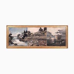 Peinture Orientale de 3 Photos, 100 Ans, Cadre Doré