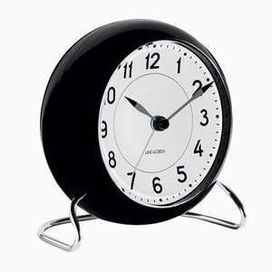 Black and White Table Clock by Arne Jacobsen