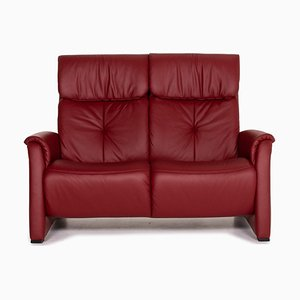 Trapezoid Dark Red Leather Theater Sofa from Himolla
