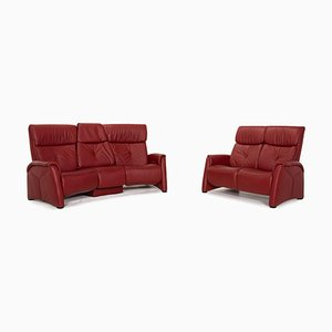 Trapeze Dark Red Home Cinema Sofas from Himolla, Set of 2