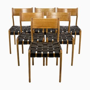 Scandinavian Chairs in Teak and Leather, 1960s, Set of 6