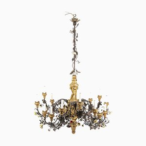 Chandelier in Gilt Wood, Wrought Iron, and Porcelain, 1880s