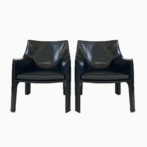 414 Lounge Chairs by Mario Bellini for Cassina, 1980s, Set of 2