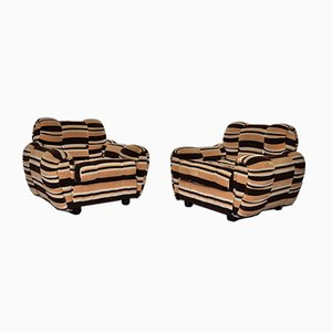 Striped Chenille Lounge Chairs, 1970s, Set of 2