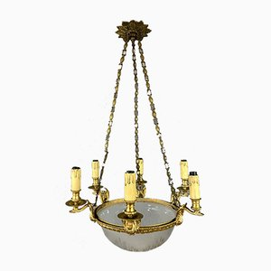 Kronleuchter aus Vergoldeter Bronze und Geschliffenem Glas