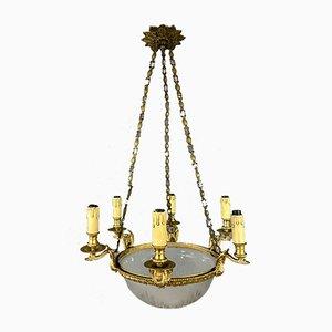 Lampadario in bronzo dorato e vetro inciso