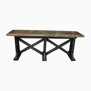 Long Industrial Chipboard Console Table, 1920s