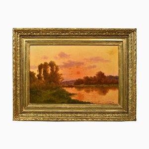 Landscape Ölgemälde, Nature Painting, Sonnenuntergang, 19. Jahrhundert