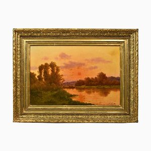 Landscape Oil Painting, Nature Painting, Sunset, 19th Century