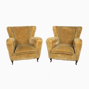 Velvet Tobacco Armchairs, 1950s, Set of 2