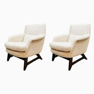 Vintage Dutch Ecru Armchairs, Set of 2