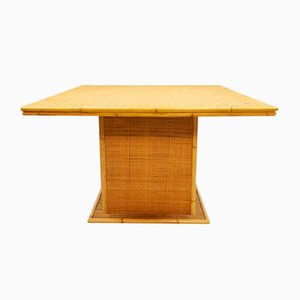Vintage Rattan Bamboo Dining Table, 1960s
