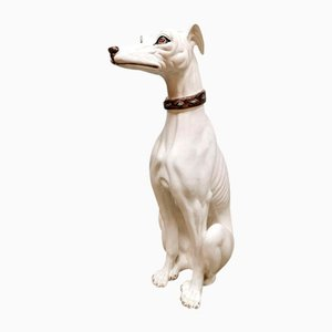 Italienischer Vintage Keramikstatue Greyhound