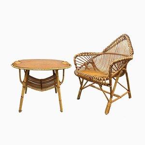 Vintage Rattan Lounge Set by Janine Abraham, Set of 2