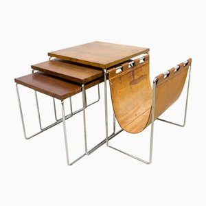 Vintage Nesting Tables with Magazine Rack from Brabantia Holland, Set of 4