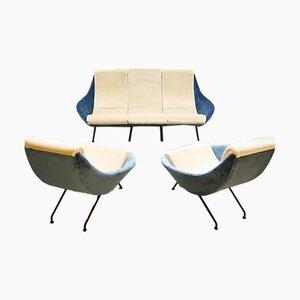 Vintage Armchairs & Sofa Set in Ice Blue Velvet