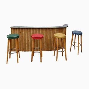 Juego de mueble bar, taburete de pared y taburete de bar vintage de bambú, años 60