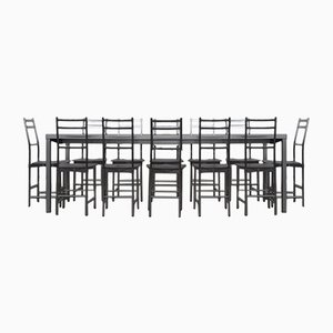 Bagutta Table and Chairs In Aluminum by Opera Design for Ycami, 1980s, Set of 7