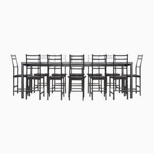 Bagutta Tisch und Stühle aus Aluminium von Opera Design für Ycami, 1980er, 7er Set