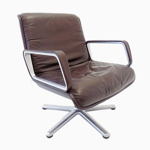 2000 Brown Leather Swivel Chair by Delta Design for Wilkhahn, 1960s