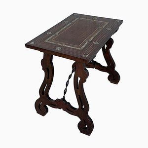 19th Century Spanish Side Table with Marquetry Top and Lyre Carved Legs