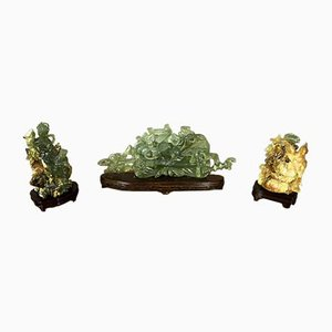 Piedras chinas talladas, años 20. Juego de 3