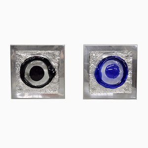Italienische Murano Glas Wandleuchten, 1970er, 2er Set