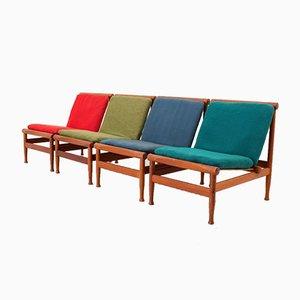 Teak 501 oder Japan Sessel von Kai Lyngfeldt Larsen für Søborg Møbelfabrik, 1950er, 4er Set