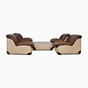 Leather Lounge Chairs & Table from Swan, 1970s, Set of 5