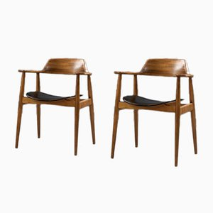 Beech Model 411 Armchairs by Hartmut Lohmeyer for Wilkhahn, 1950s, Set of 2