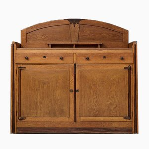 Amsterdamse School Art Deco Bar Cabinet in Solid Oak and Coromandel, 1930s