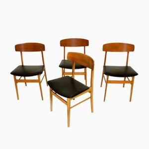 Teak and Beech Dining Chairs, 1960s, Set of 4