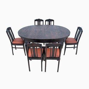Sedie da pranzo Art Nouveau, Polonia, anni '30, set di 7
