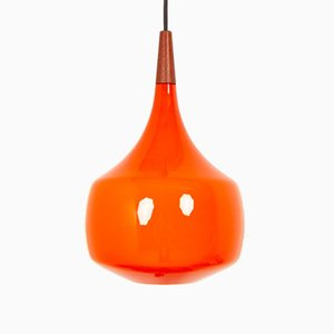 Vintage Danish Orange Glass Pendant Lamp by Holmegaard, 1960s
