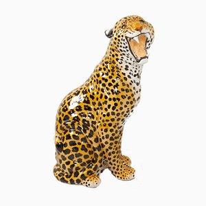Leopardo de tamaño natural italiano vintage en terracota, años 60