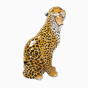 Leopardo vintage in terracotta a grandezza naturale, Italia, anni '60