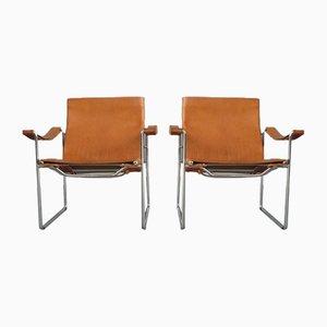 Schweizer Armlehnstühle aus Leder & Stahlrohr von Fritz Haller für Heinrich Pfalzberger, 1970er, 2er Set